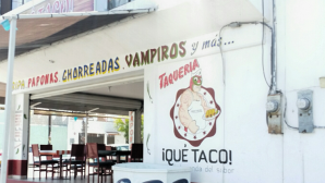 "La Luchador selling tacos: ""buy them or else..."""