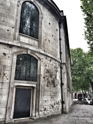 Artillery damage that was left as is after WWII